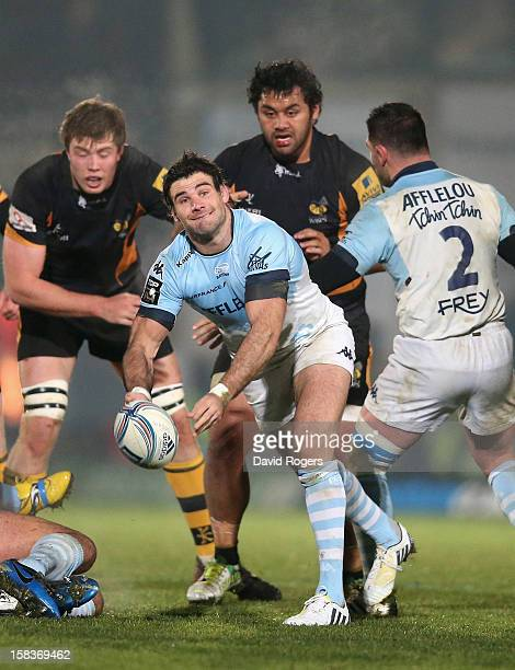 Mike Phillips of Bayonne passes the ball during the Amlin Challenge Cup match between London Wasps and Bayonne at Adams Park on December 13 2012 in...