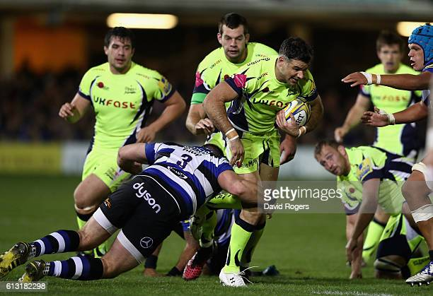 Mike Phillips of Sale charges upfield during the Aviva Premiership match between Bath Rugby and Sale Sharks at the Recreation Ground on October 7...