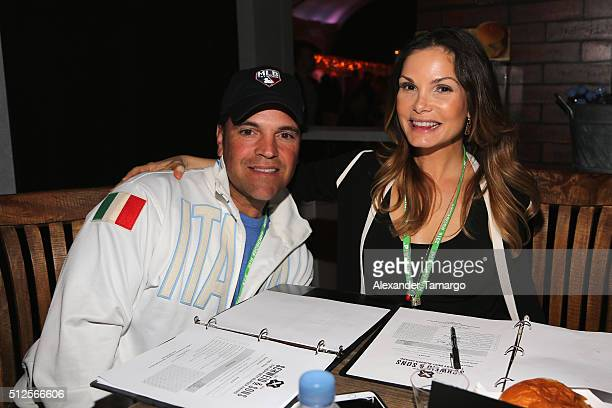 Mike Piazza and Alicia Piazza attend Amstel Light Burger Bash Presented By Schweid Sons Hosted By Rachael Ray during 2016 Food Network Cooking...