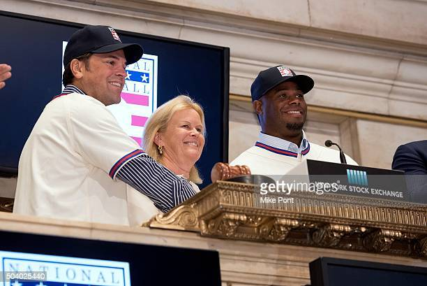 Mike Piazza and Ken Griffey Jr celebrate their Baseball Hall of Fame Inductions at the New York Stock Exchange on January 8 2016 in New York City
