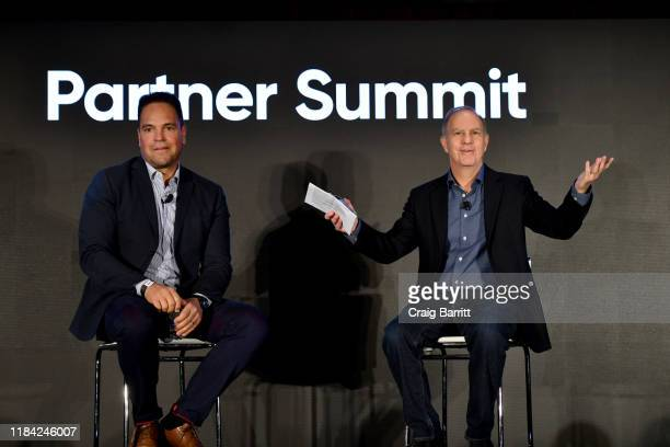 Mike Piazza, MLB Hall-of-Famer and Chairman of the Advisory Committee at Company.com and Andy Serwer, Editor in Chief of Yahoo Finance speak onstage...