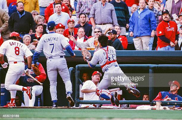 Mike Piazza of the Los Angeles Dodgers during the Opening Day game against the St Louis Cardinals on March 31 1998 at Busch Stadium in St Louis...