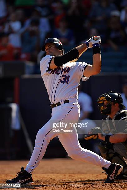 Mike Piazza of the New York Mets at bat in possibly his last game as a New York Met at Shea Stadium on October 2 2005 in Flushing New York The...