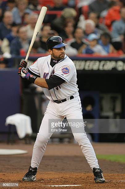 Mike Piazza of the New York Mets bats during the game against the San Francisco Giants on May 6 2004 at Shea Stadium in Flushing New York The Mets...