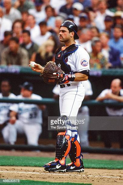 Mike Piazza of the New York Mets during the All-Star Game on July 7, 1998 at Coors Field in Denver, Colorado.
