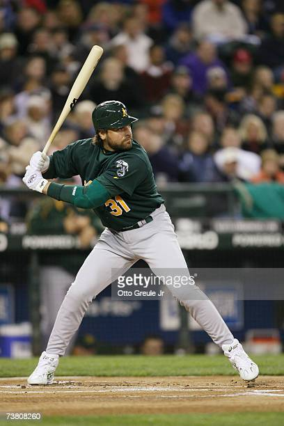 Mike Piazza of the Oakland Athletics bats against the Seattle Mariners on April 3 2007 at Safeco Field in Seattle Washington The Mariners defeated...