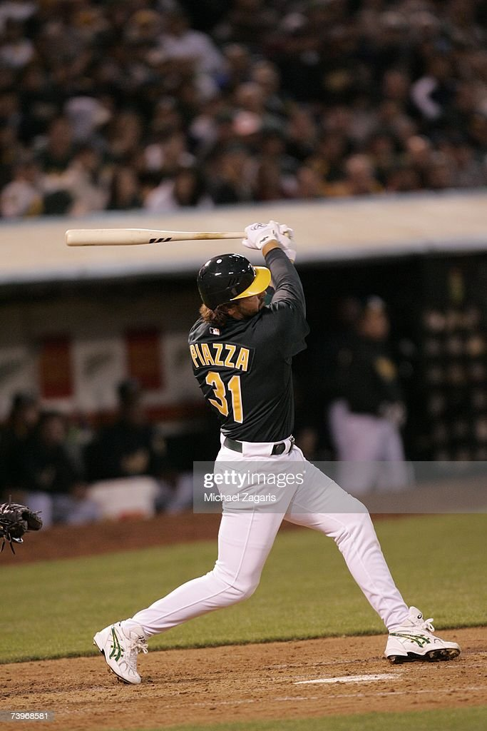Mike Piazza of the Oakland Athletics hits during the game against the Chicago White Sox on MLB Opening Night at the McAfee Coliseum in Oakland, California on April 9, 2007. The White Sox defeated the Athletics 4-1.