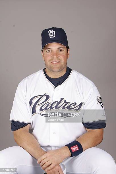 Mike Piazza of the San Diego Padres during photo day at Peoria Stadium on February 26 2006 in Peoria Arizona