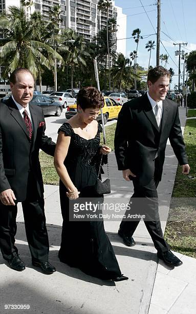 Mike Piazza's parents Vince and Veronica and his brother Tommy arrive at St Jude's Catholic Church in Miami to attend the wedding of the New York...