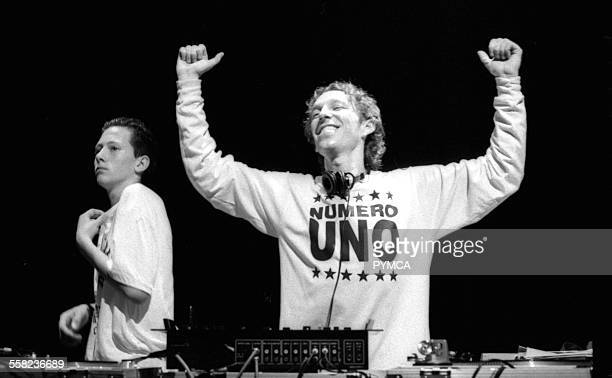 Mike Pickering dj'ing at one of the early Manchester parties 1988