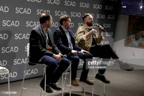 Mike Pollack Brian Tolleson and Allan Holmes speak at the 'The Future of Brand Storytelling' panel during SCAD aTVfest 2019 on February 08 2019 in...