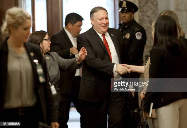 Mike Pompeo currently the Director of the CIA and also nominated by US President Donald Trump as the next US Secretary of State arrives at the US...