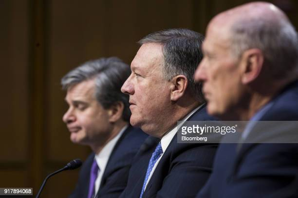 Mike Pompeo director of the Central Intelligence Agency center testifies during a Senate Intelligence Committee hearing on worldwide threats in...