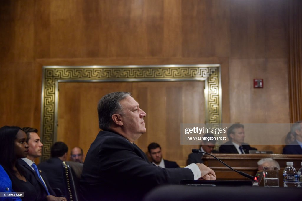 Mike Pompeo, nominated by Donald Trump as Secretary of State to replace Rex Tillerson, sits for a confirmation hearing with the Senate Foreign Relations Committee at the Dirksen Building on Thursday, April 12, 2018, in Washington, DC. His stances on crucial foreign policy matters and his close relationship with Donald Trump have drawn questions about his fitness for the Secretary of State position.