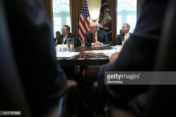 Mike Pompeo US secretary of state from left US President Donald Trump and Patrick Shanahan deputy secretary of defense listen during a meeting in the...
