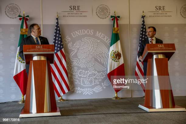 Mike Pompeo US secretary of state left listens during a meeting with Luis Videgaray Mexico's foreign minister right in Mexico City Mexico on Friday...