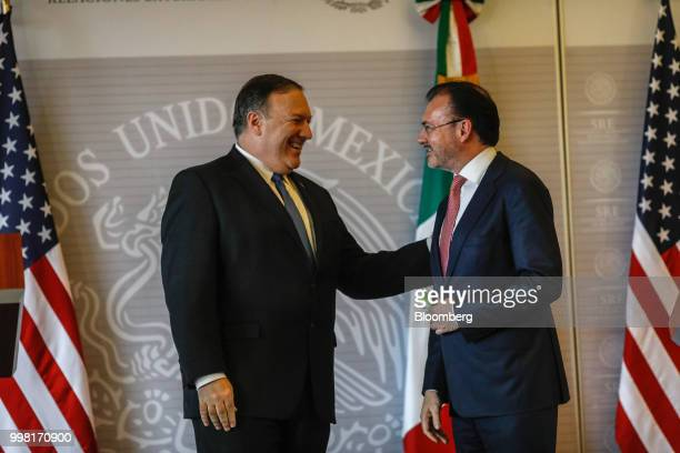 Mike Pompeo US secretary of state left smiles during a meeting with Luis Videgaray Mexico's foreign minister in Mexico City Mexico on Friday July 13...