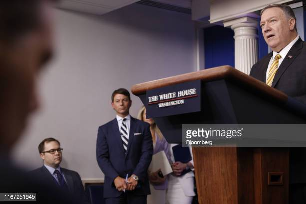 Mike Pompeo US secretary of state right speaks during a White House press briefing in Washington DC US on Tuesday Sept 10 2019 Pompeo and US Treasury...