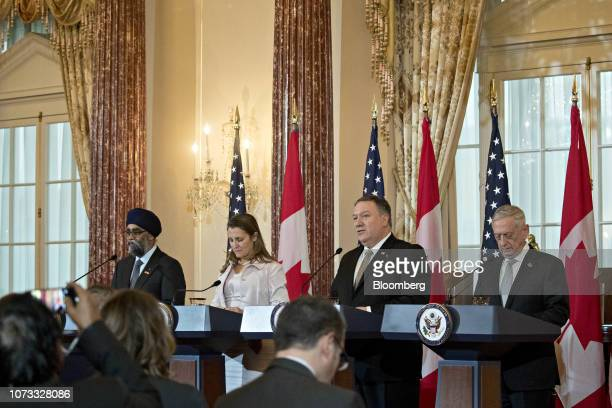 Mike Pompeo US secretary of state second right speaks as James Mattis US secretary of defense from right Chrystia Freeland Canada's minister of...