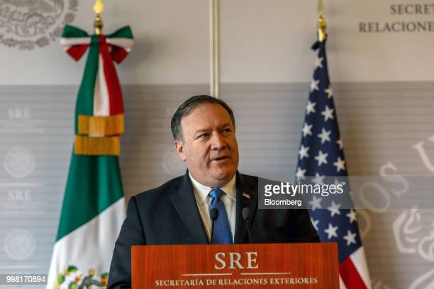 Mike Pompeo US secretary of state speaks during a meeting with Luis Videgaray Mexico's foreign minister not pictured in Mexico City Mexico on Friday...