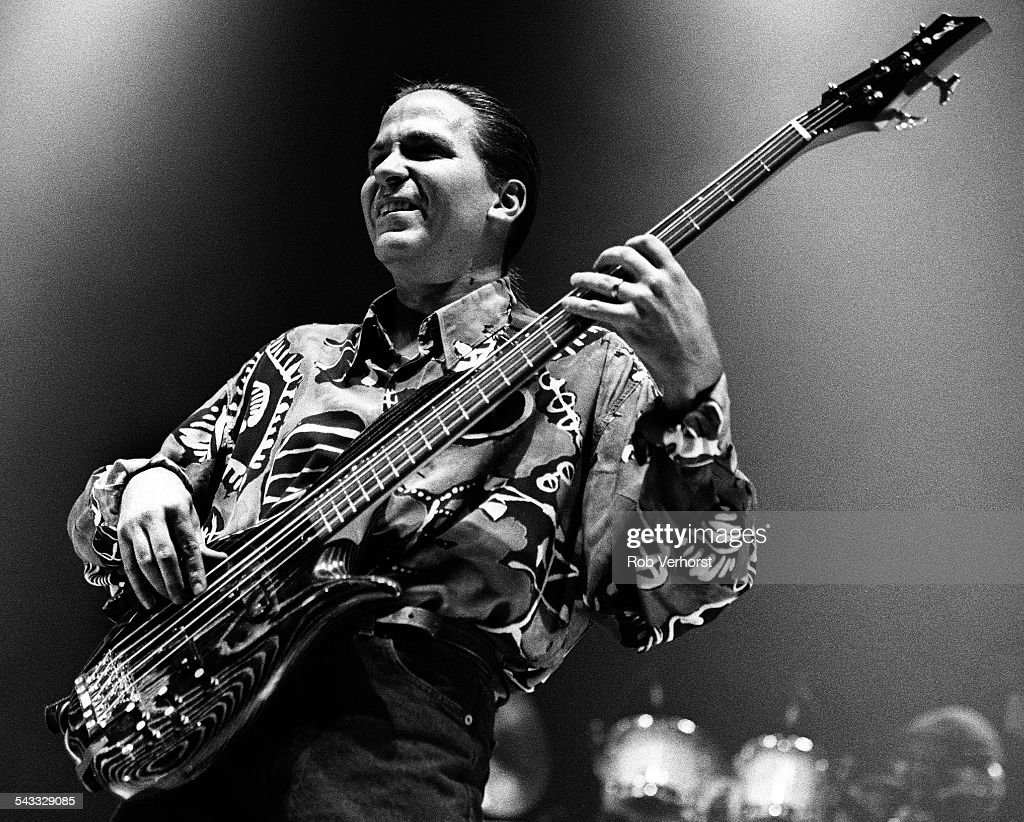 Mike Porcaro of Toto performs on stage at Ahoy, Rotterdam, Netherlands, 3rd October 1992.