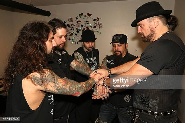 Mike Portnoy Erik Leonhardt Chad Szeliga Mike Orlando and Russell Allen of Adrenaline Mob backstage during the AJ Pero Tribute Concert at Starland...