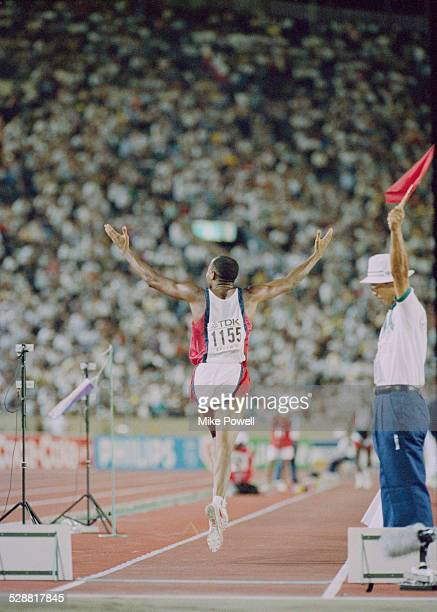 Mike Powell of the United State after making his world record leap during the Long Jump event at the IAAF World Athletic Championships on 30th August...