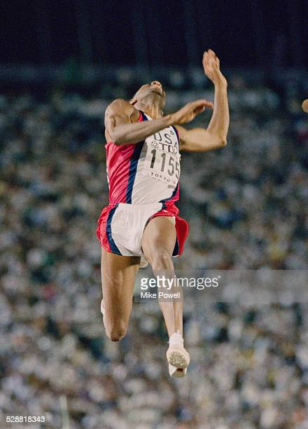 Mike Powell of the United State making his world record leap during the Long Jump event at the IAAF World Athletic Championships on 30th August 1991...