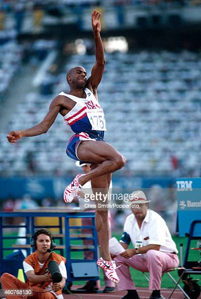 Mike Powell of the United States silver medallist in the men's long jump in action at the Summer Olympic Games in Barcelona circa August 1992