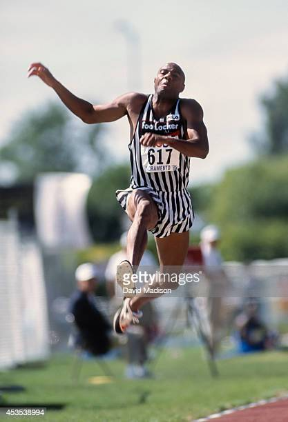 Mike Powell of the USA competes in the Men's Long Jump event of the 1995 USA Track and Field Championships held in June 1992 in Sacramento California