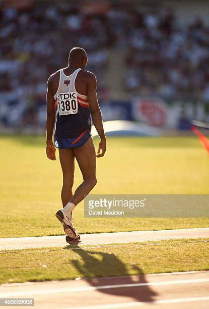 Mike Powell of the USA competes in the Men's Long Jump event of the 1995 IAAF World Championships in Athletics held at Ullevi Stadium in August 1995...