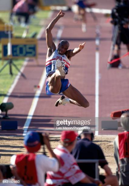 Mike Powell of the USA enroute to winning the bronze medal in the men's long jump during the World Athletics Championships in Gothenburg Sweden circa...