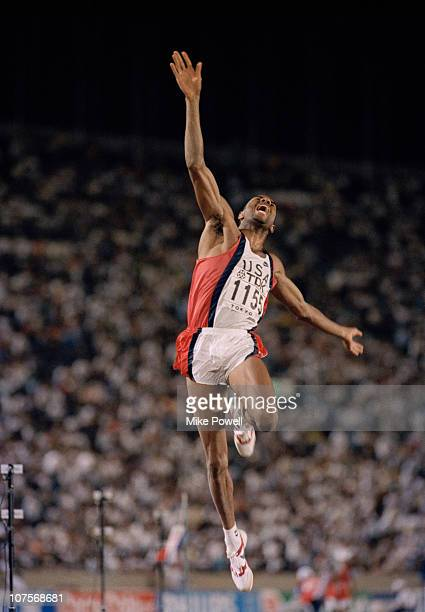 Mike Powell of the USA in action during the Long Jump event at the 1991 IAAF World Athletic Championships on 30th August 1991 at the Olympic Stadium...