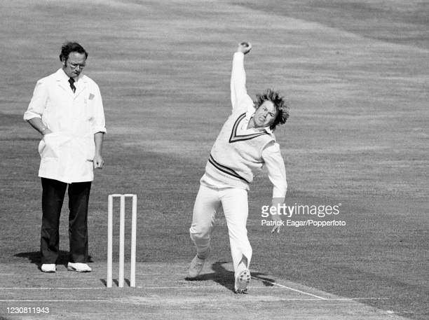 Mike Procter of Gloucestershire bowling during the Courage Challenge Cup International Batsman of the Year single-wicket competition at The Oval,...