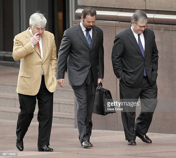 Mike Ramsey Chip Lewis and George Secrest all attorneys for former Enron chairman Kenneth Lay return from lunch to the Bob Casey US Courthouse for...