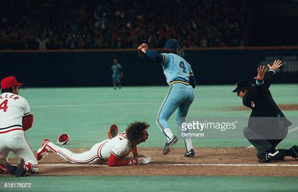 Mike Ramsey slides into third base in game 2 of the 1982 World Series against the Milwaukee Brewers