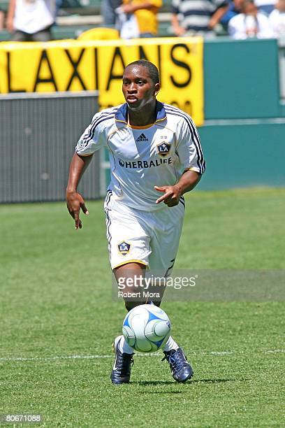 Mike Randolph of the Los Angeles Galaxy moves the ball up the field during their MLS game against Toronto FC at the Home Depot Center on April 13...