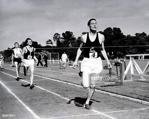 Mike Rawson winning the 'Battle of Britain Trophy' 880 yards race at Uxbridge 3rd September 1955
