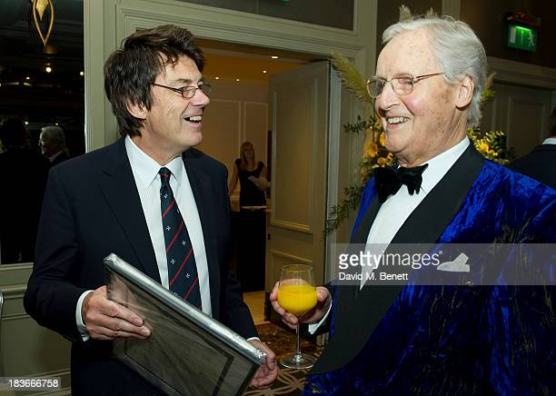 Mike Read and Nicholas Parsons attend Nicholas Parsons 90th birthday party at the Churchill Hotel on October 8 2013 in London England