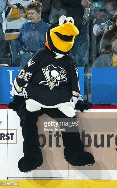 Mike Recktenwald entertains fans as the Pittsburgh Penguins mascot Iceburgh during the Pittsburgh Penguins game against the New York Islanders on...