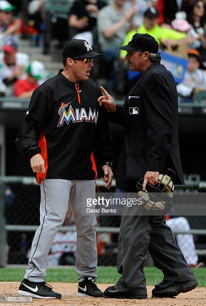 Mike Redmond of the Miami Marlins argues a call with home plate umpire umpire Paul Nauert during the sixth inning on May 26 2013 at US Cellular Field...