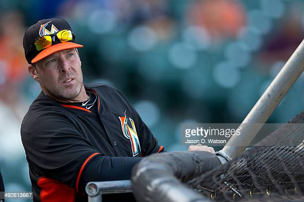 Mike Redmond of the Miami Marlins watches his team during batting practice before the game against the San Francisco Giants at ATT Park on May 16...