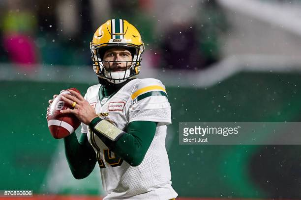 Mike Reilly of the Edmonton Eskimos looks for a receiver in the game between the Edmonton Eskimos and Saskatchewan Roughriders at Mosaic Stadium on...