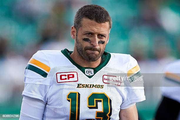 Mike Reilly of the Edmonton Eskimos on the sideline during the game between the Edmonton Eskimos and Saskatchewan Roughriders at Mosaic Stadium on...