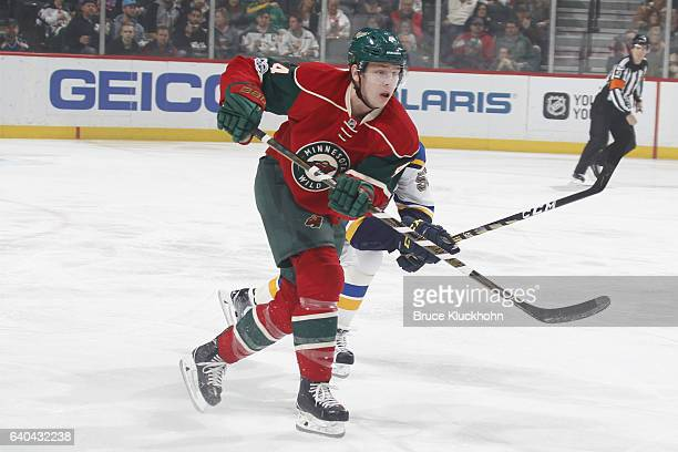 Mike Reilly of the Minnesota Wild clears the puck against the St Louis Blues during the game on January 26 2017 at the Xcel Energy Center in St Paul...