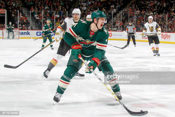 Mike Reilly of the Minnesota Wild handles the puck against the Vegas Golden Knights during the game at the Xcel Energy Center on February 2 2018 in...