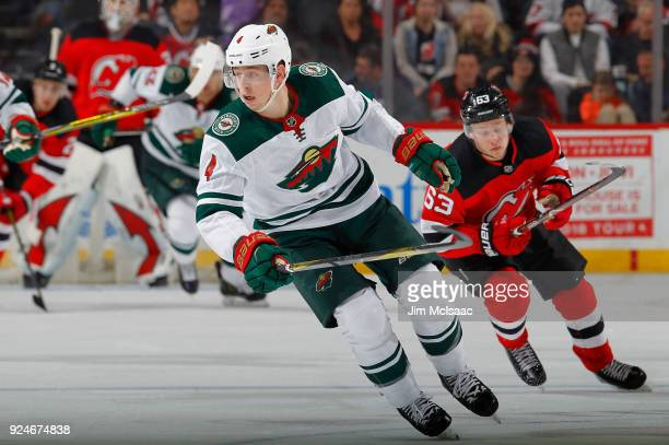 Mike Reilly of the Minnesota Wild in action against the New Jersey Devils on February 22 2018 at Prudential Center in Newark New Jersey