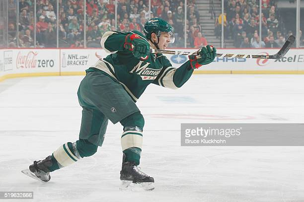 Mike Reilly of the Minnesota Wild shoots the puck against the Chicago Blackhawks during the game on March 29 2016 at the Xcel Energy Center in St...
