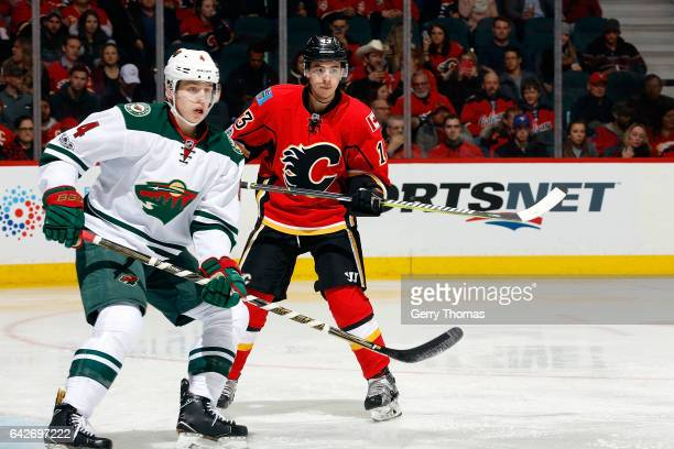 Mike Reilly of the Minnesota Wild skates against the Calgary Flames during an NHL game on February 1 2017 at the Scotiabank Saddledome in Calgary...