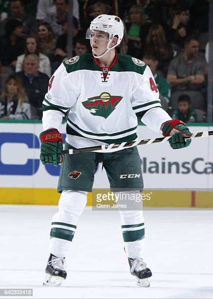 Mike Reilly of the Minnesota Wild skates against the Dallas Stars at the American Airlines Center on January 24 2017 in Dallas Texas